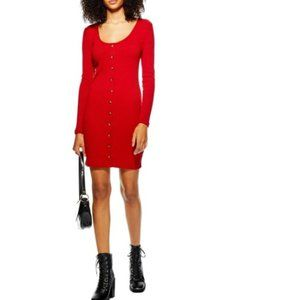 Topshop Ribbed Button Front Sweater Dress 10 4417X